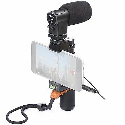 Movo Smartphone Grip Handle Mic Rig with Stereo Mic Tripod Mount - Shoe Mount