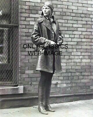 AMELIA EARHART AVIATRIX AIRPLANE AVIATION PIONEER PHOTO VINTAGE LONG BOOT SHOES
