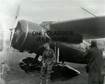 PILOT AMELIA EARHART BY HER POWERFUL RECORD SETTER AIRPLANE - DOG PHOTO AVIATION