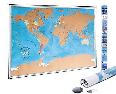 Scratch Off World Map Poster with US States and Country Flags - FAST SHIPPING