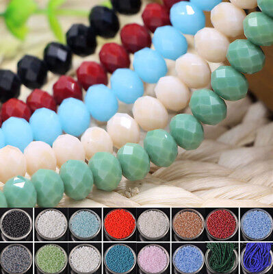Lots Wholesale Rondelle Faceted Crystal Glass Loose Spacer Beads 346810mm