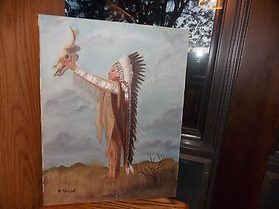 Southwest American Original Oil Painting Chief Signed