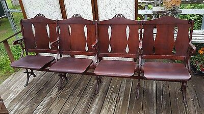 1 of 5 Vintage 4 Wood Connected Folding Chairs Theater Stadium Seats Antique