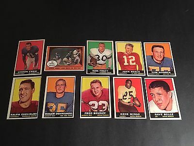 1961  TOPPS  FOOTBALL  10 CARD LOT     EX