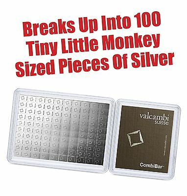 100 x 1 gram Silver Bar - Valcambi Silver CombiBar™ wAssay - Super Low Price