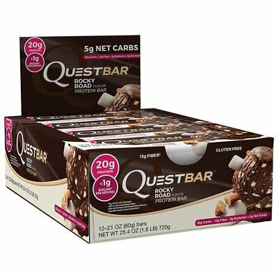 Quest Nutrition Bar Rocky Road Gluten Free Protein BEST BY 102017 12 Bars