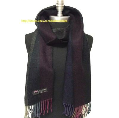 Men Winter 100 Cashmere Scarf Tweed Stripe Multi Color SCOTLAND Soft Wool Wrap
