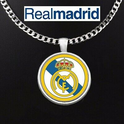 Real Madrid Soccer Futbol 925 Silver Link Chain Necklace And Pendant GiftPk D5
