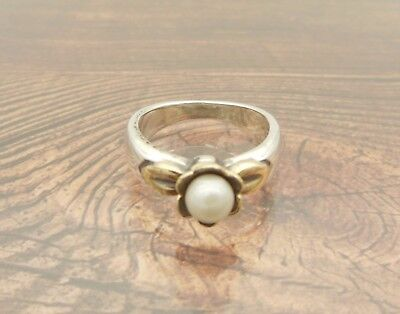 Retired James Avery Blooming Pearl Ring Sterling Silver 14k Gold Size 5