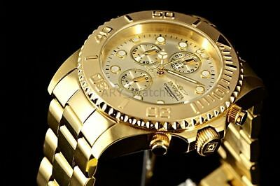 Mens Invicta Pro Diver 18k GOLD Plated SS Chronograph Champagne Dial 695 Watch