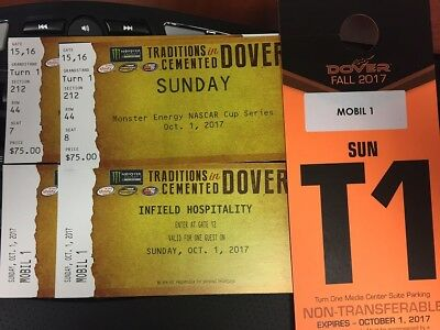 2 tickets for Dover NASCAR Race Infield Hospitality Pit - Parking Passes