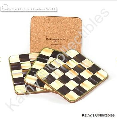 Authentic Mackenzie Childs    Courtly Check Cork Back Coasters - Set of 4