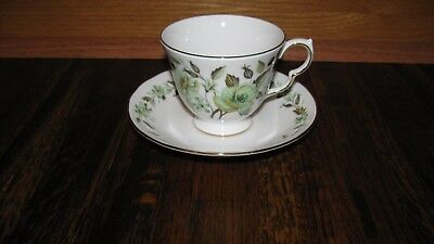 Colclough England Cup and Saucer C671 Green Flowers Gold Trim Brown Leaves