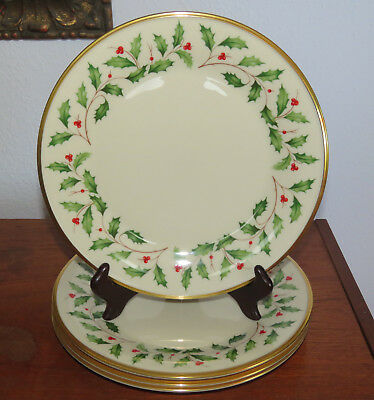 4 Lenox Holiday Dimension Collention Dinner Plates Holly - Berries - Excellent