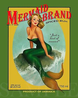 Vintage Pretty Mermaid Woman Picture 8X10 New Fine Art Color Print Poster Ad Old