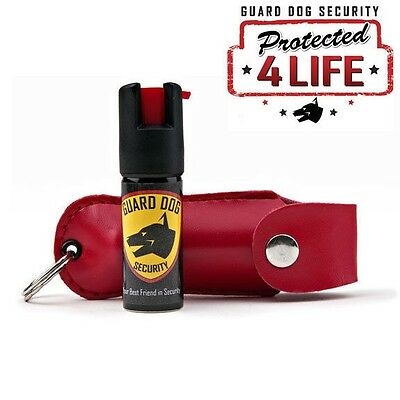Red Personal Defense Pepper Spray OC-18 12 oz - Leather Case