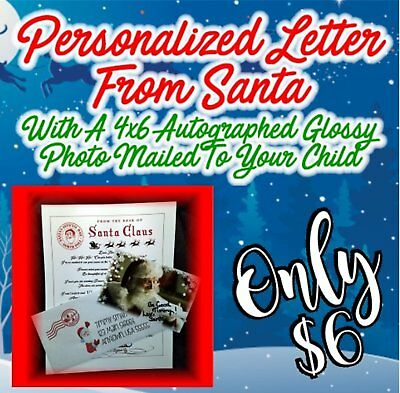 Personalized Letter - Glossy Autographed Photo Mailed From Santa FREE SHIPPING