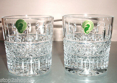 Waterford Irish Lace TUMBLER SET of 2 Double Old Fashioned Glasses 149579 New