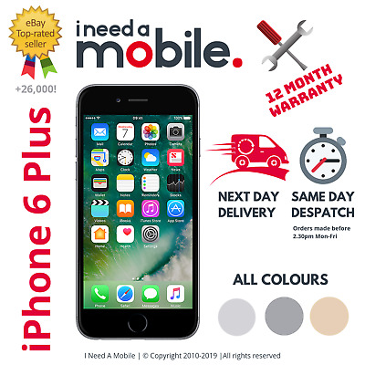 Apple iPhone 6 Plus -16GB 64GB 128GB - Unlocked -All Colours - 12 MONTH WARRANTY