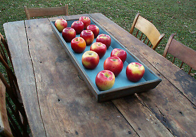Primitive Apple Tray Early 1800s Wood lBlue Paint Patina Dovetailed Canted