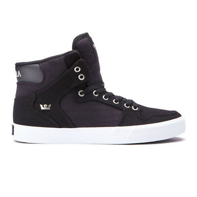 Supra Vaider Shoes BlackWhiteWhite Mens High-Top Canvas Vulc Sneakers