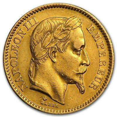 France Gold 20 Francs Napoleon III Avg Circ - SKU 161220