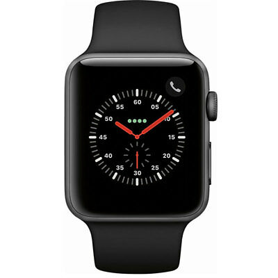 Apple Watch Series 3 GPSCellular 42MM Space Gray and Black Sport Band MQK22LLA
