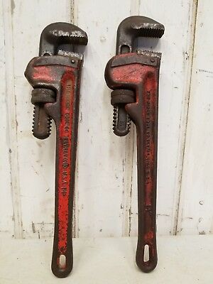 2 Vintage 14 Heavy Duty Ridgid Pipe Wrenches  The Ridge Tool Co Adjustable