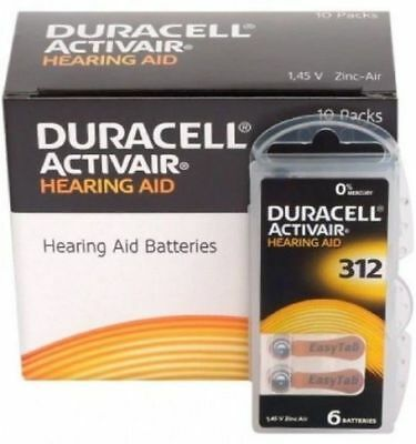 New Fresh 32 x  Duracell Activair Hearing Aid Batteries Size 312 Exp 09-2024