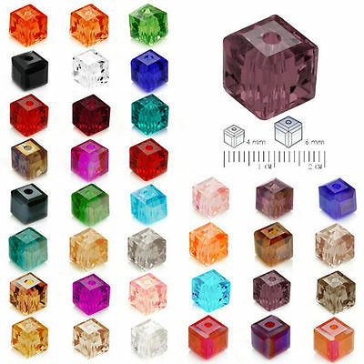 Free Shipping 30pcs 6mm Cube Square Faceted Crystal Austria Loose beads