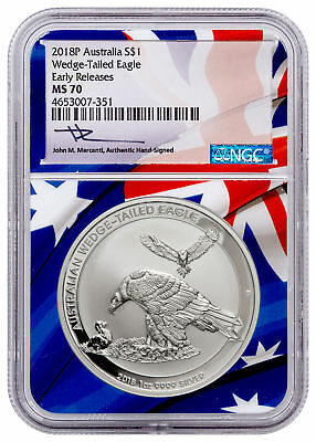2018 Aust 1 oz Silver Wedge-Tailed Eagle 1 NGC MS 70 ER Flag Mercanti SKU52648