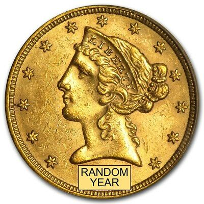 5 Liberty Gold Half Eagle BU Random Year - SKU 166785