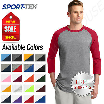 Sport-Tek Mens 100 Cotton Raglan 34 Sleeve Colorblock Baseball T-Shirt M-T200