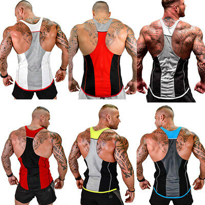 Gym Men Muscle Sleeveless Tank Top Tee Shirt Bodybuilding Sport Fitness Vest la