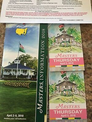 2018 MASTERS GOLF TOURNAMENT TICKETS - THURSDAY APRIL 5TH - 2 TICKETS