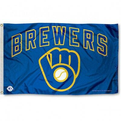 MILWAUKEE BREWERS FLAG 3X5 MLB BREWERS GLOVE BANNER FAST FREE SHIPPING