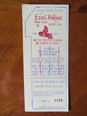 1974 ORIGINAL  EVEL KNIEVEL SNAKE RIVER CANYON TICKET WITH COOL EXTRAS