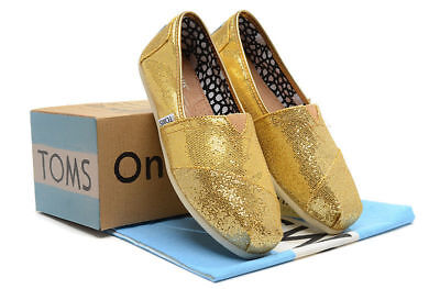 New Womens Gold Glitter Toms Shoes