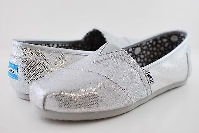 New Womens Silver Glitter Toms Shoes size 9