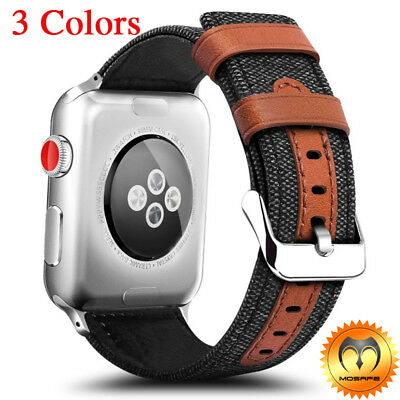 For Apple Watch Series 321 Hybrid Canvas Leather Wrist iWatch Band Strap 42mm