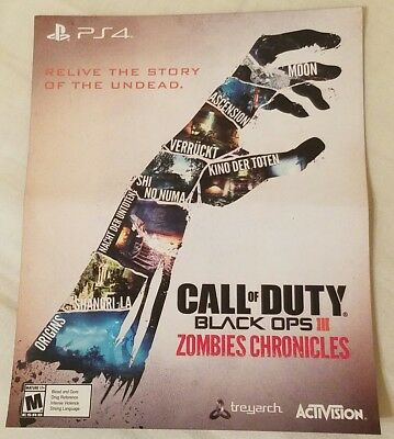 PS4 Call Of Duty Black Ops 3 Zombies Chronicles Bonus Content Card Only working