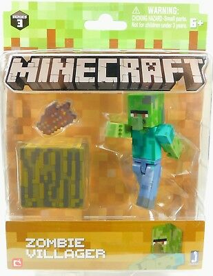 Minecraft Zombie Villager Series 3 Collectible Figure New in Mint Box Toy