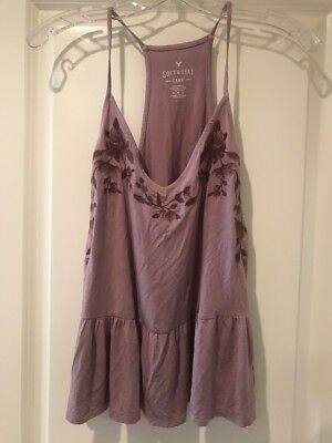 AMERICAN EAGLE OUTFITTERS Soft - Sexy Embroidered Tank size M lavender NEW