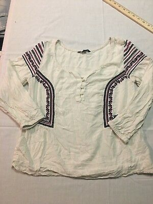 American Eagle Outfitters Juniors Size xSmall Off White Blouse Boho Top XS