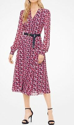 MICHAEL KORS GEORGETTE CARNATION SHIRT DRESS- Kate Middleton Dress - X-Small NWT