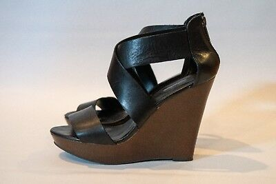 Aldo black and brown wedge shoes size 37 womens