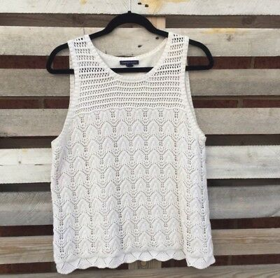 Womens American Eagle Outfitters White Knit Crochetted Tank Top Size XL