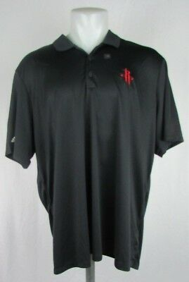 Houston Rockets Adidas Mens Polo Shirt Black wRed Logo XL 2XL