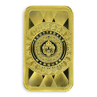 SPECIAL PRICE 1 oz -9999 Gold Bar Scottsdale Marquee in Certi-Lock A453