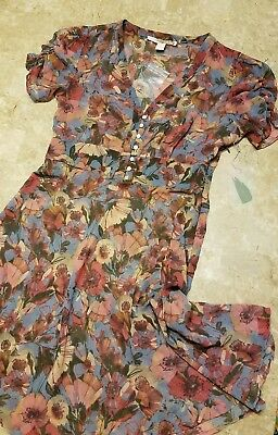 Forever 21 contemporary dress size small floral print sleeve detail button front